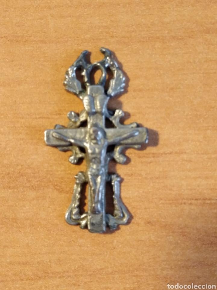 Antigüedades: MON 1490 - CRUCFIJO ANTIGUO DELICADOS DETALLES REALIZADO EN COSPEL DE ÉPOCA CONSERVA PÁTNA ANTI - Foto 6 - 200516545