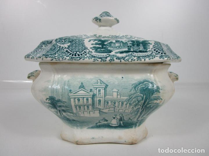 BONITA SOPERA ANTIGUA - LOZA DE SARGADELOS - DECORACIÓN VERDE - PERFECTA - S. XIX (Antigüedades - Porcelanas y Cerámicas - Sargadelos)