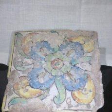 Antigüedades: ~~~~ ANTIGUO AZULEJO - RAJOLA VALENCIANA POLICROMADA S.XIX, MIDE APROXIMADAMENTE 13 X 13 CM. ~~~~. Lote 200564950