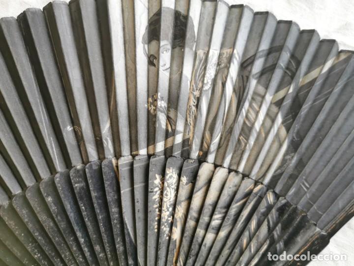 Antigüedades: ABANICO. MADERA EBONIZADA Y TELA. PINTADO A MANO. ESPAÑA. AÑOS 50 - Foto 2 - 200575628