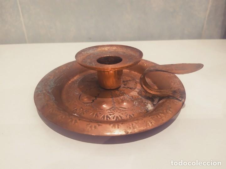 Antigüedades: MINI PORTAVELAS LATON - Foto 2 - 200575945