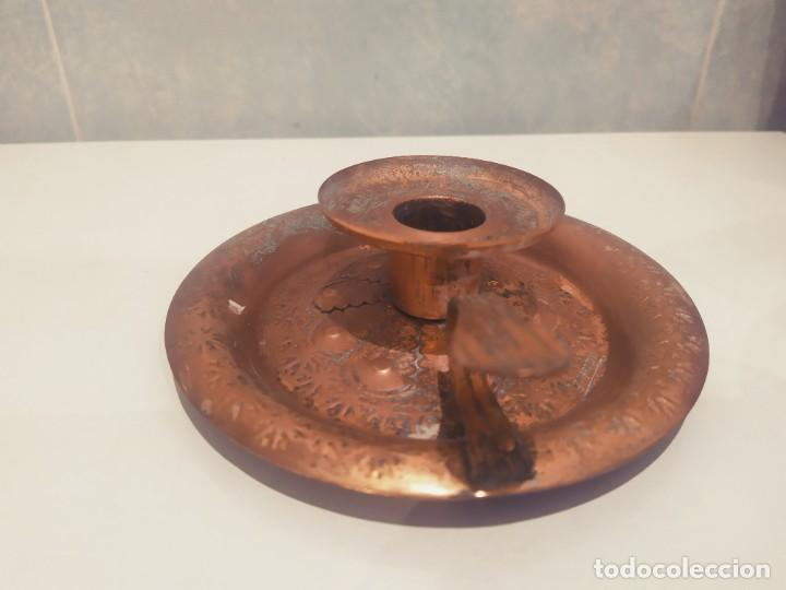 Antigüedades: MINI PORTAVELAS LATON - Foto 3 - 200575945
