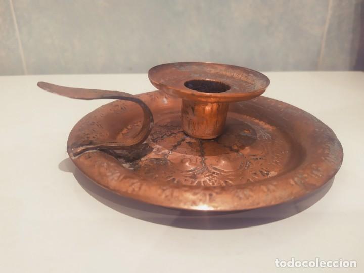Antigüedades: MINI PORTAVELAS LATON - Foto 4 - 200575945