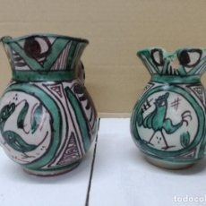 Antigüedades: DOS JARRAS DE CERÁMICA DE TERUEL. PUNTER R-6.12 CM.Y D. PUNTER 7 -13 CM . Lote 200637000