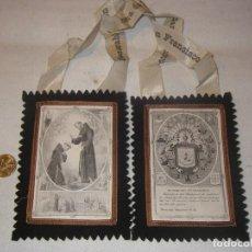 Oggetti Antichi: ESCAPULARIO GRANDE, SAN FRANCISCO, TELA , 15 X 11 CM.. Lote 200646840