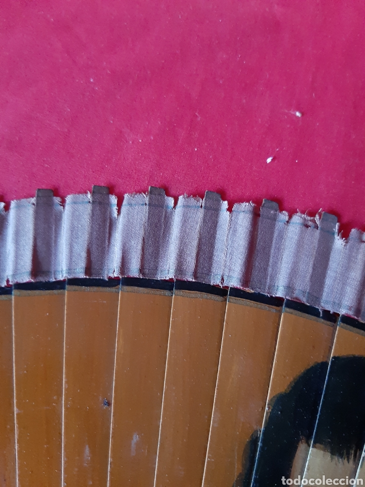 Antigüedades: Antiguo abanico de madera pintado a mano - Foto 3 - 200751962