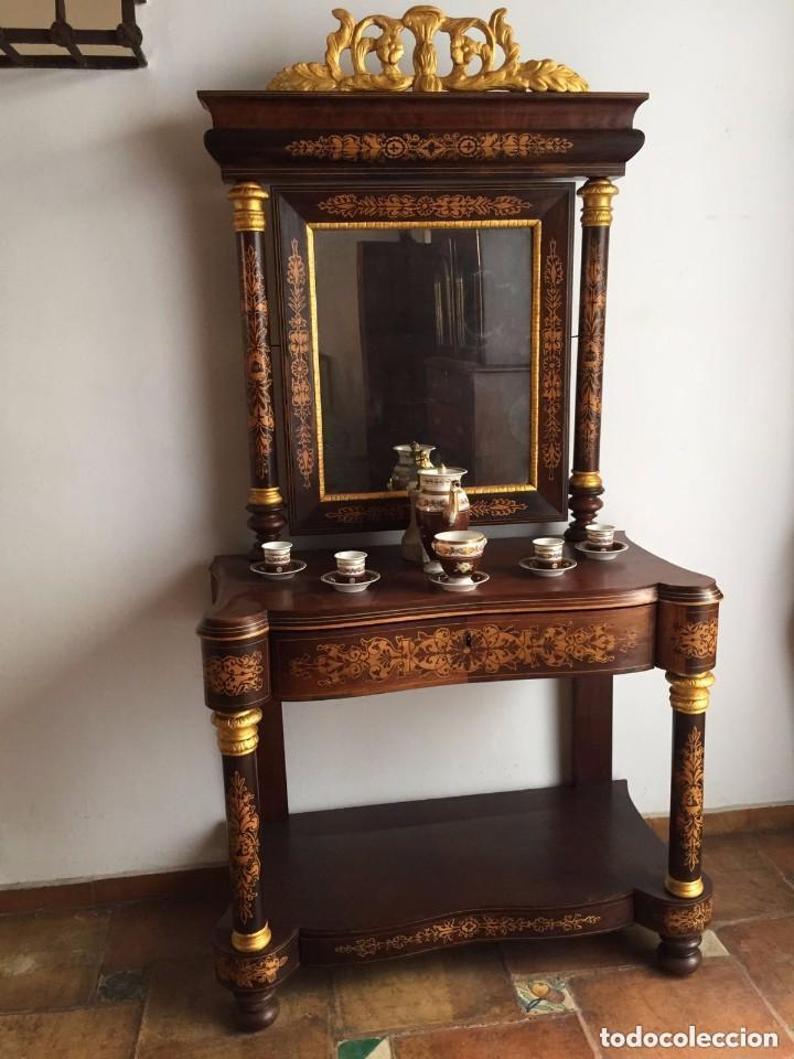 CONSOLA CON ESPEJO - 1835-40 (Antigüedades - Muebles Antiguos - Consolas Antiguas)