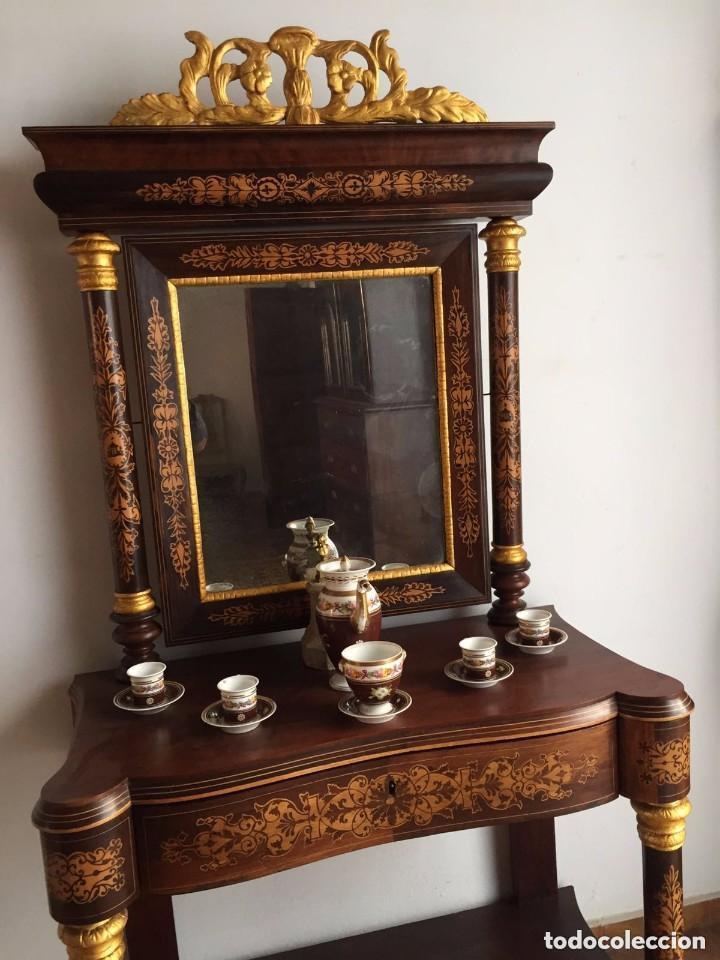 Antigüedades: Consola con espejo - 1835-40 - Foto 3 - 200800781