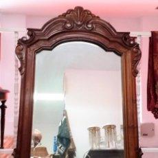 Antiquités: ESTUPENDO ESPEJO DE INDONESIA CON MARCO DE MADERA TALLADO A MANO. Lote 200813540