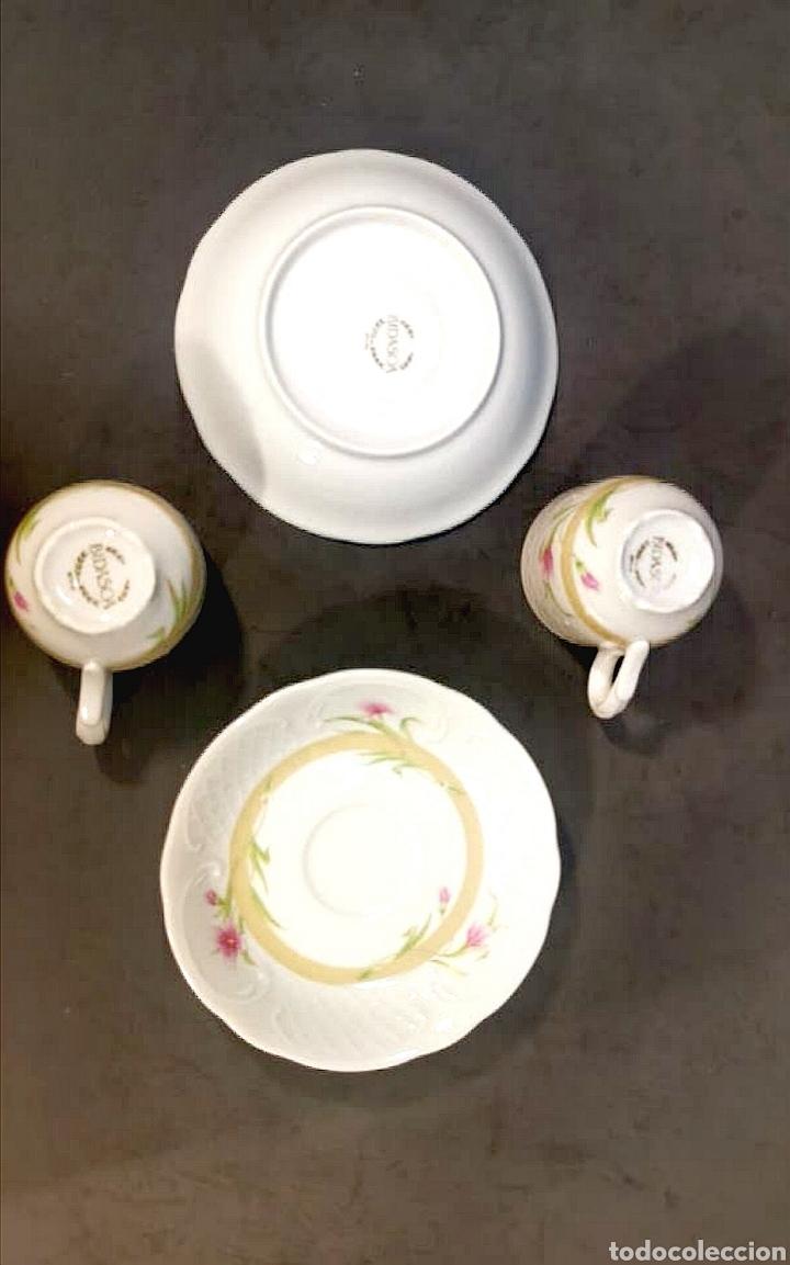 Antigüedades: Lote de tazas de café y platos. Marca Bidasoa, años 70, con decoración floral - Foto 4 - 200819092