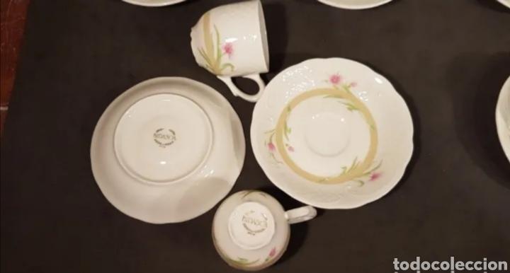 Antigüedades: Lote de tazas de café y platos. Marca Bidasoa, años 70, con decoración floral - Foto 5 - 200819092