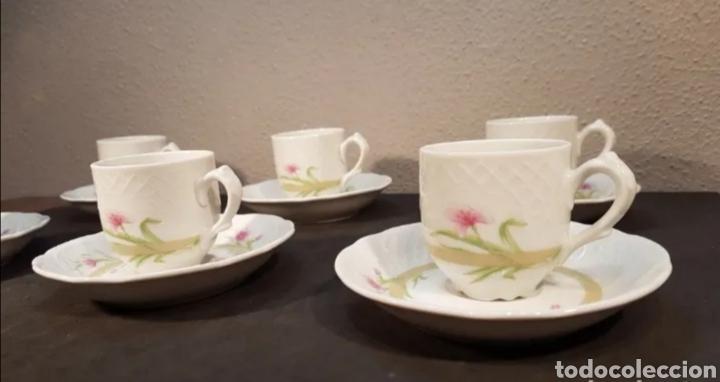 Antigüedades: Lote de tazas de café y platos. Marca Bidasoa, años 70, con decoración floral - Foto 3 - 200819092