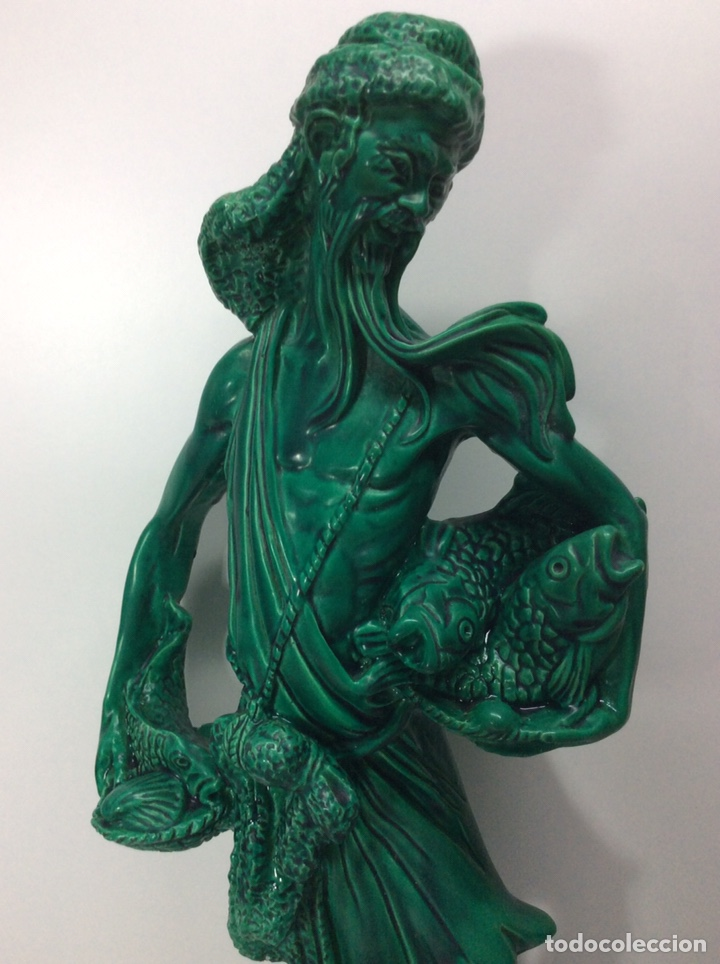 Antigüedades: Figura pescador asiático resina o plástico 48x19x8.5cm. Base 13cm - Foto 2 - 200868690