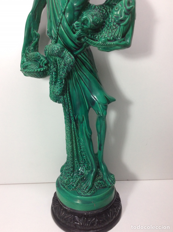 Antigüedades: Figura pescador asiático resina o plástico 48x19x8.5cm. Base 13cm - Foto 3 - 200868690