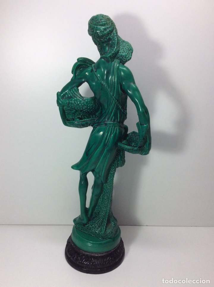 Antigüedades: Figura pescador asiático resina o plástico 48x19x8.5cm. Base 13cm - Foto 4 - 200868690