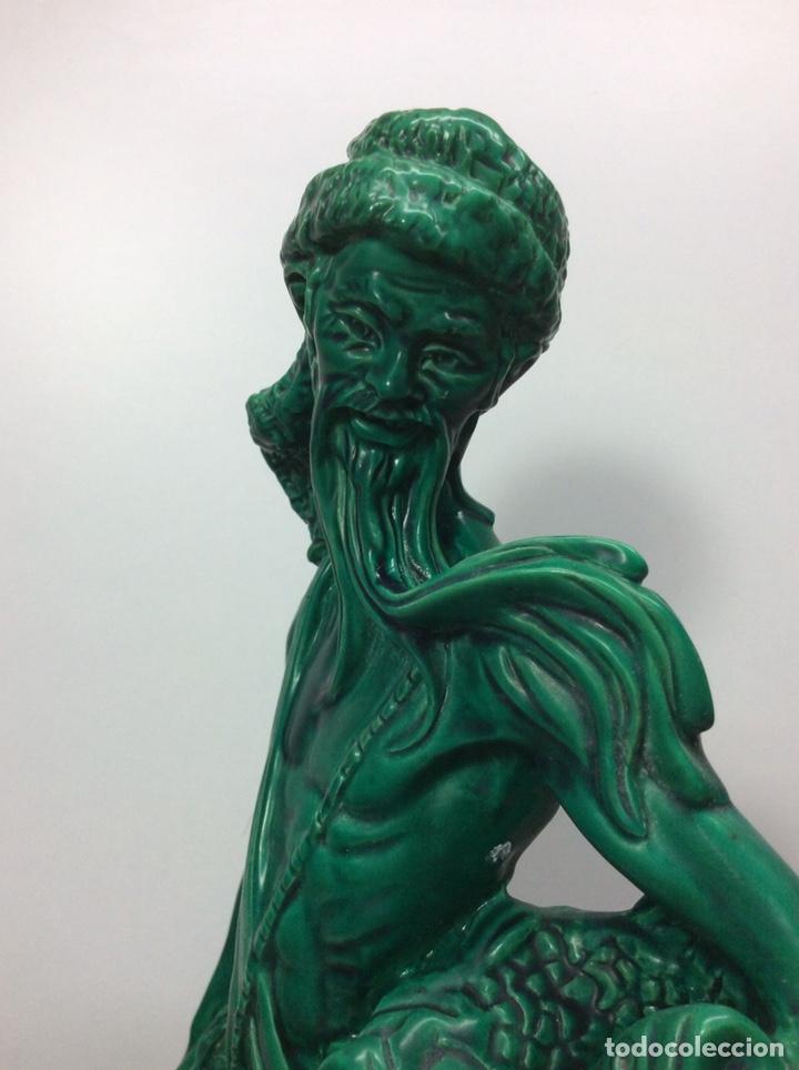 Antigüedades: Figura pescador asiático resina o plástico 48x19x8.5cm. Base 13cm - Foto 6 - 200868690