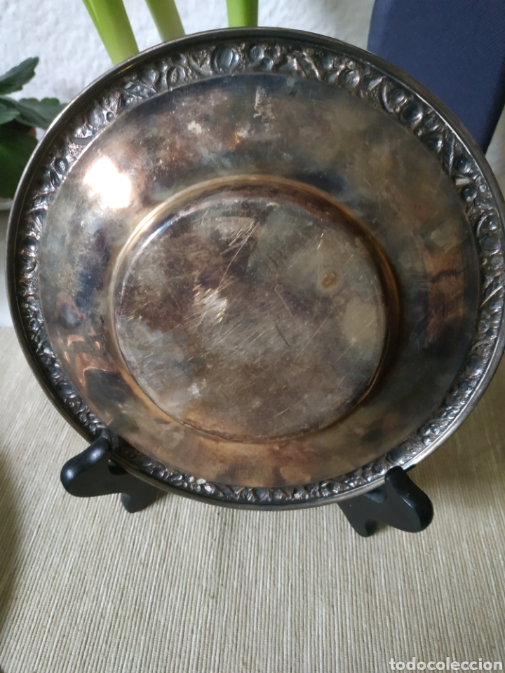 Antigüedades: Plato de plata con marcajes. - Foto 5 - 201113263