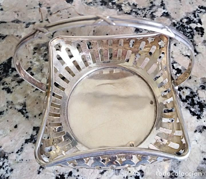 Antigüedades: Canasta de plata de ley siglo xix/XX contrastada - Foto 2 - 201114143