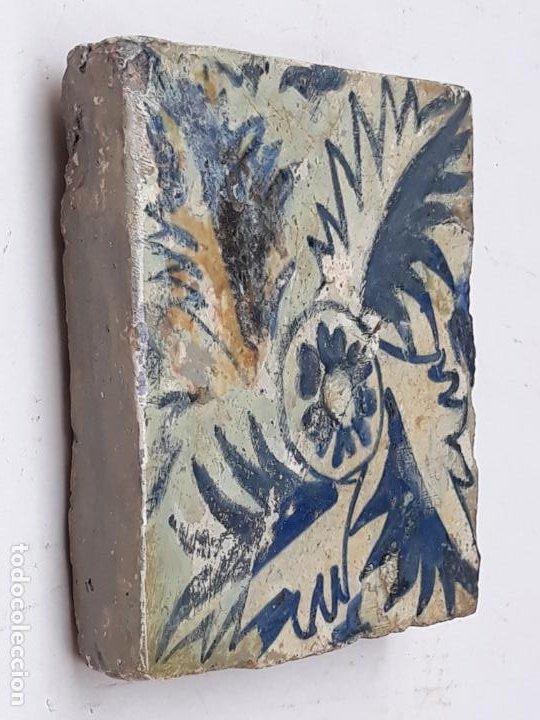 Antigüedades: 3 ) AZULEJO GOTICO ANTIGUO ( HOLAMBRILLA ) - MANISES ( VALENCIA ) SIGLO XV. - Foto 3 - 201114670