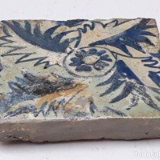 Antigüedades: 3 ) AZULEJO GOTICO ANTIGUO ( HOLAMBRILLA ) - MANISES ( VALENCIA ) SIGLO XV.. Lote 201114670