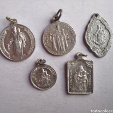 Antigüedades: LOTE 5 MEDALLAS RELIGIOSAS NUESTRA SEÑORA DEL CARMEN. Lote 201117751