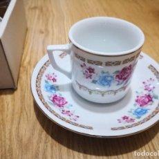 Antigüedades: JUEGO CAFÉ TÚ Y YO EN PORCELANA CHINA SIN ESTRENAR. Lote 49942424