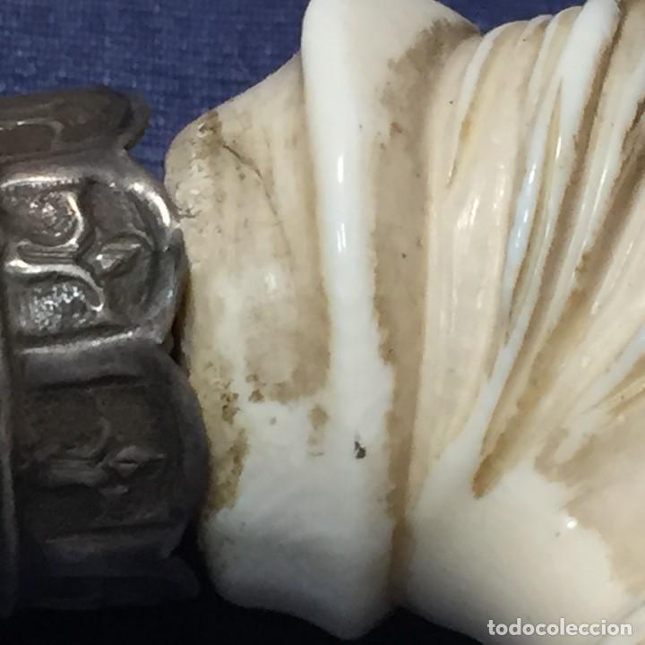 Antigüedades: baston virola plata pomo marfil caballo cabeza calidad ojos vidrio fin s xix ppio s xx 5x11x4cms - Foto 25 - 201164282