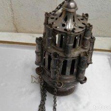 Antigüedades: MUY ANTIGUO Y GRAN BOTAFUMEIRO DE PLATA. Lote 201213415