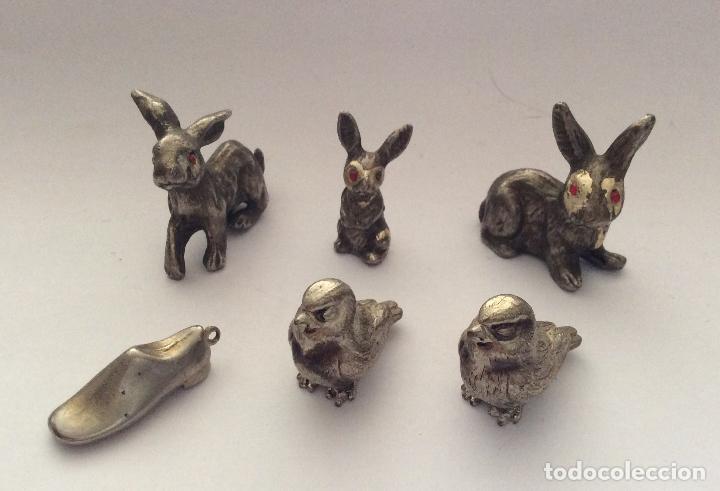ANIMALES EN MINIATURA ,CON BAÑO PLATA (Antigüedades - Hogar y Decoración - Figuras Antiguas)
