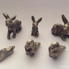 Antigüedades: ANIMALES EN MINIATURA ,CON BAÑO PLATA. Lote 201215022