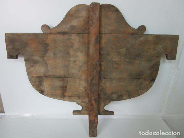 Antigüedades: Cabezal de Cama Isabelina - Madera de Caoba - Forma de espiga Central - Principios S. XIX - Foto 12 - 201222526