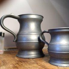 Antigüedades: PAREJA JARRAS ANTIGUAS CERVEZA METAL ZINC ESTAÑO. Lote 201222638