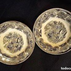 Antigüedades: ANTIGUOS PLATOS DE CARTAGENA, CAZA DEL CIERVO. SELLO INCISO Y TINTA 22 CM. Lote 201231318
