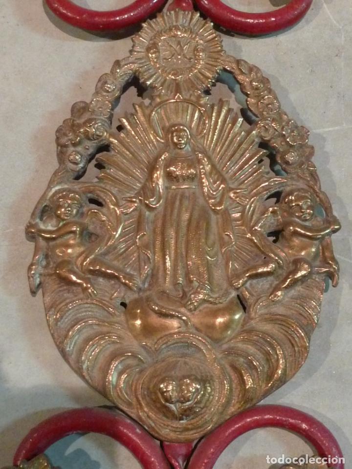Antigüedades: CABECERO DE CAMA DE MONJA – HIERRO Y LATÓN – Virgen Inmaculada - Foto 10 - 201242748