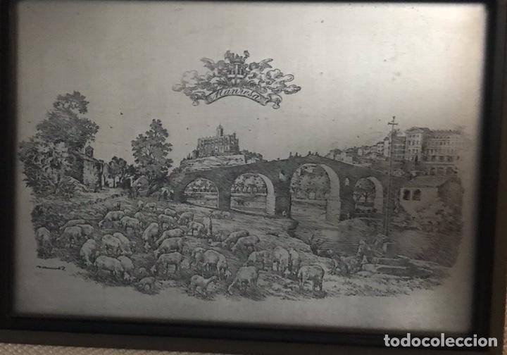 Antigüedades: Antiguo cuadro de Manresa con dibujo de Joan Vilanova sobre placa plateada de 915 milesimas - Foto 2 - 201257056