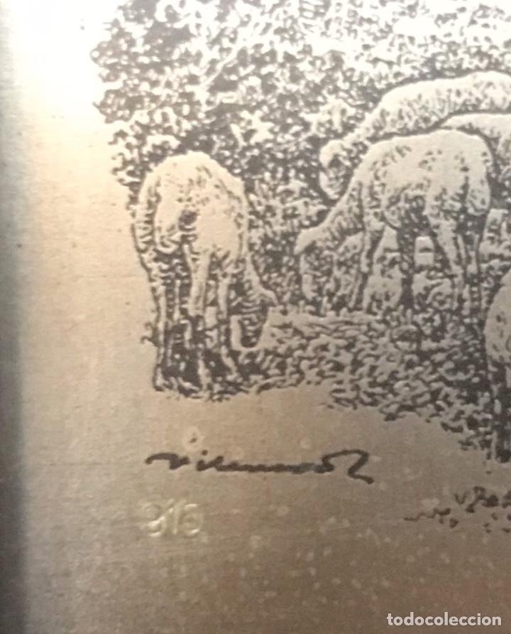 Antigüedades: Antiguo cuadro de Manresa con dibujo de Joan Vilanova sobre placa plateada de 915 milesimas - Foto 3 - 201257056