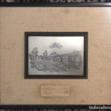 Antigüedades: ANTIGUO CUADRO DE MANRESA CON DIBUJO DE JOAN VILANOVA SOBRE PLACA PLATEADA DE 915 MILESIMAS. Lote 201257056