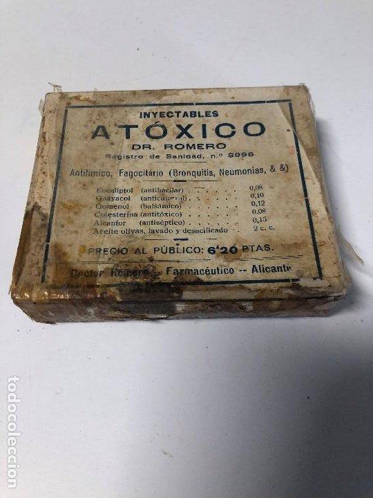 ANTIGUA CAJA SIN ABRIR DE MEDICAMENTO ATOXICO (Antigüedades - Cristal y Vidrio - Farmacia )