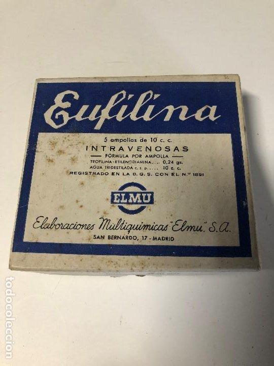 ANTIGUA CAJA DE MEDICAMENTO EUFILINA (Antigüedades - Cristal y Vidrio - Farmacia )