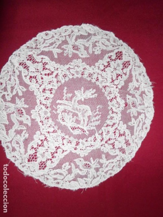 Antigüedades: Antiguo tapete de tul bordado con bobiné - Foto 3 - 201266403