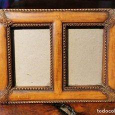 Antigüedades: MARCO DOBLE PARA DOS FOTOGRAFIAS EN PASTA. Lote 201270473