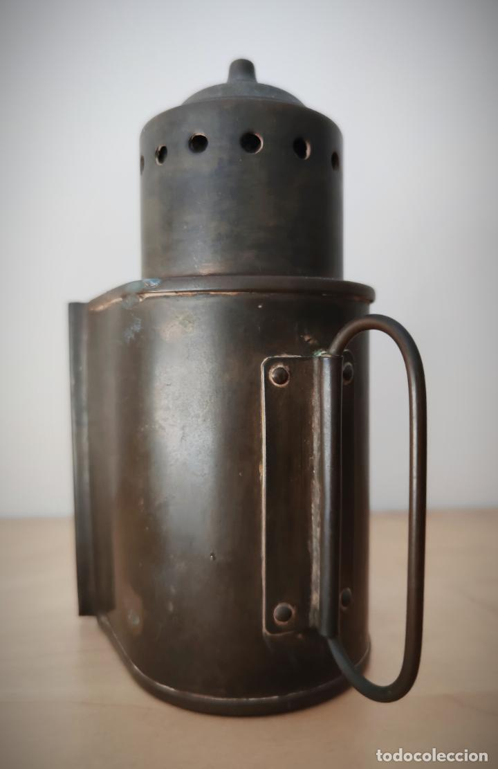 Antigüedades: ANTIGUO FAROL DE MANO EN LATÓN SE DESCONOCE ORIGEN - ESTA BIEN CONSERVADO - Foto 4 - 201285743