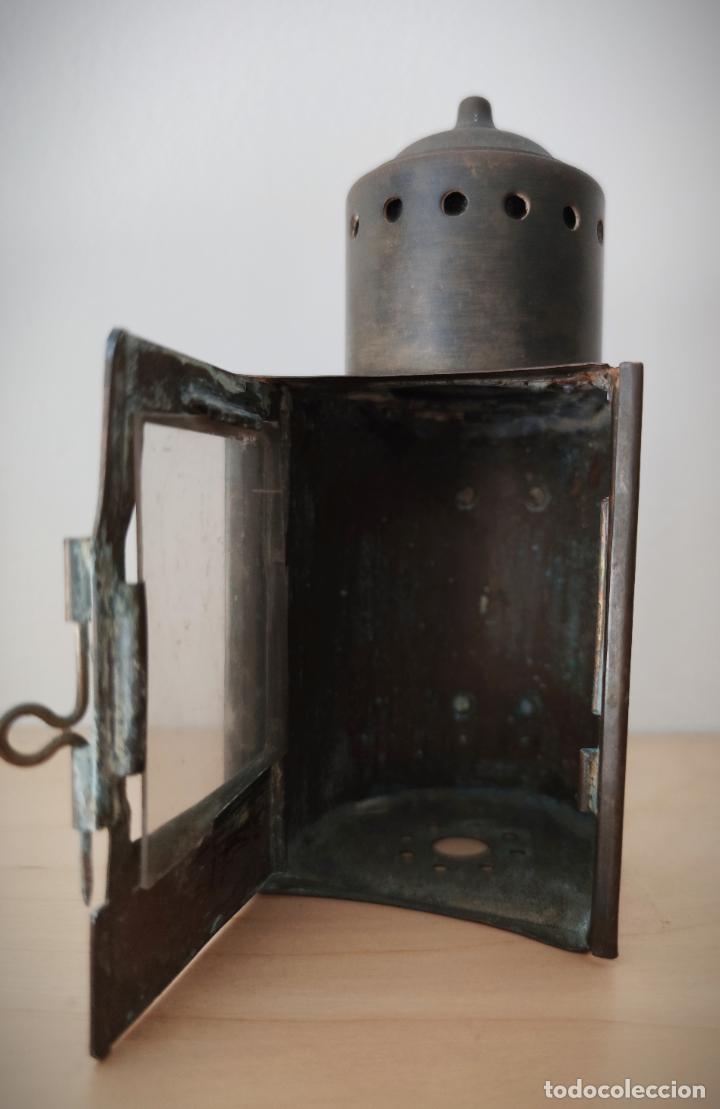 Antigüedades: ANTIGUO FAROL DE MANO EN LATÓN SE DESCONOCE ORIGEN - ESTA BIEN CONSERVADO - Foto 5 - 201285743