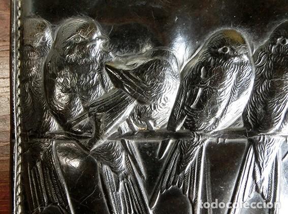 Antigüedades: ANTIGUO Y PRECIOSO BOLSO - H&B - ÉPOCA VICTORIANA - S.XIX - PÁJAROS - PIEL REPUJADA - NUMERADO - Foto 5 - 201288952