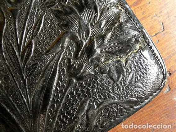 Antigüedades: ANTIGUO Y PRECIOSO BOLSO - H&B - ÉPOCA VICTORIANA - S.XIX - PÁJAROS - PIEL REPUJADA - NUMERADO - Foto 7 - 201288952