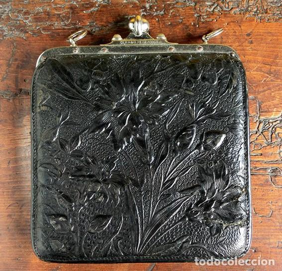 Antigüedades: ANTIGUO Y PRECIOSO BOLSO - H&B - ÉPOCA VICTORIANA - S.XIX - PÁJAROS - PIEL REPUJADA - NUMERADO - Foto 17 - 201288952