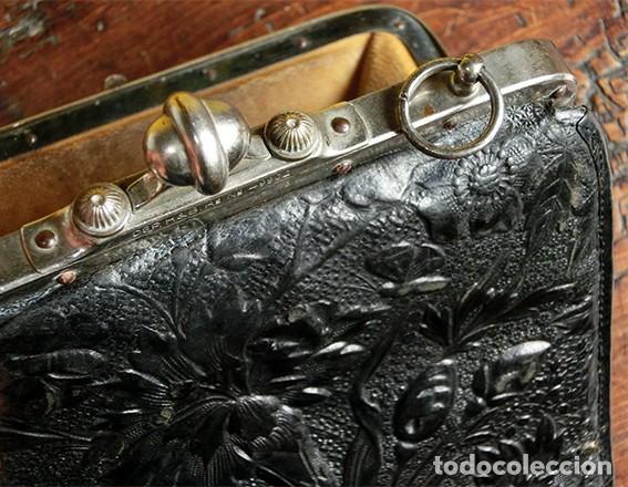 Antigüedades: ANTIGUO Y PRECIOSO BOLSO - H&B - ÉPOCA VICTORIANA - S.XIX - PÁJAROS - PIEL REPUJADA - NUMERADO - Foto 23 - 201288952