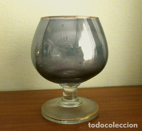 Antigüedades: Lote 4 Copas Brandy Coñac vintage (años 50-60) Cristal con esmalte dorado 9 cm alto - Foto 3 - 201289378