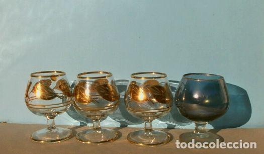 Antigüedades: Lote 4 Copas Brandy Coñac vintage (años 50-60) Cristal con esmalte dorado 9 cm alto - Foto 5 - 201289378