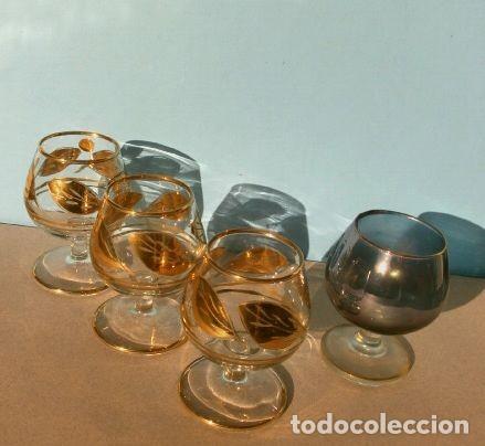 Antigüedades: Lote 4 Copas Brandy Coñac vintage (años 50-60) Cristal con esmalte dorado 9 cm alto - Foto 6 - 201289378